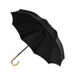 Paraguas de PASTOR negro con puño de castaño y tela negra de algodón y poliéster