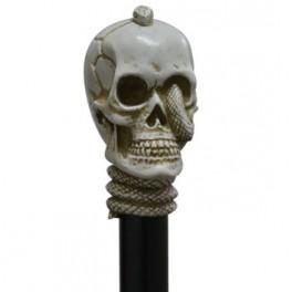 Calavera con serpiente, color marfil, palo de haya negra
