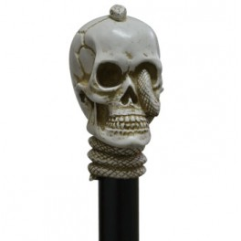 Skull with snake, ivory colour, black beech wood