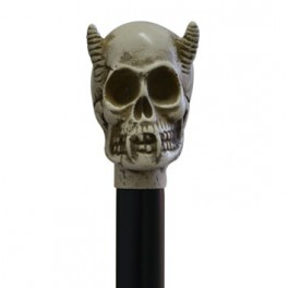 Calavera dimoni, color ivori, pal de faig negre