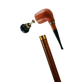 Collapsible cane with a heather pipe, stamina wood