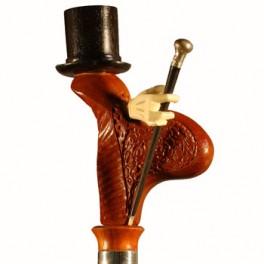 'De copa' en ébano, puño de madera de coral y bastoncito de ébano con milord de plata
