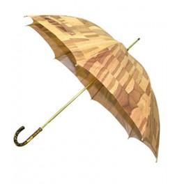 Paraguas de señora con tela de CORCHO y puño de metacrilato oro viejo