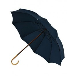 BIG umbrella with flamed chesnut handle, with blue cloth