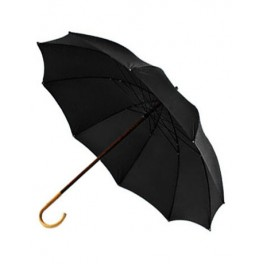 BIG umbrella with chesnut handle, with black cloth