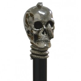 Nickel skull with snake, black beechwood