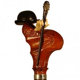 'Bombín' de ébano, puño de madera de coral y bastoncito de ébano con Sherlock de plata